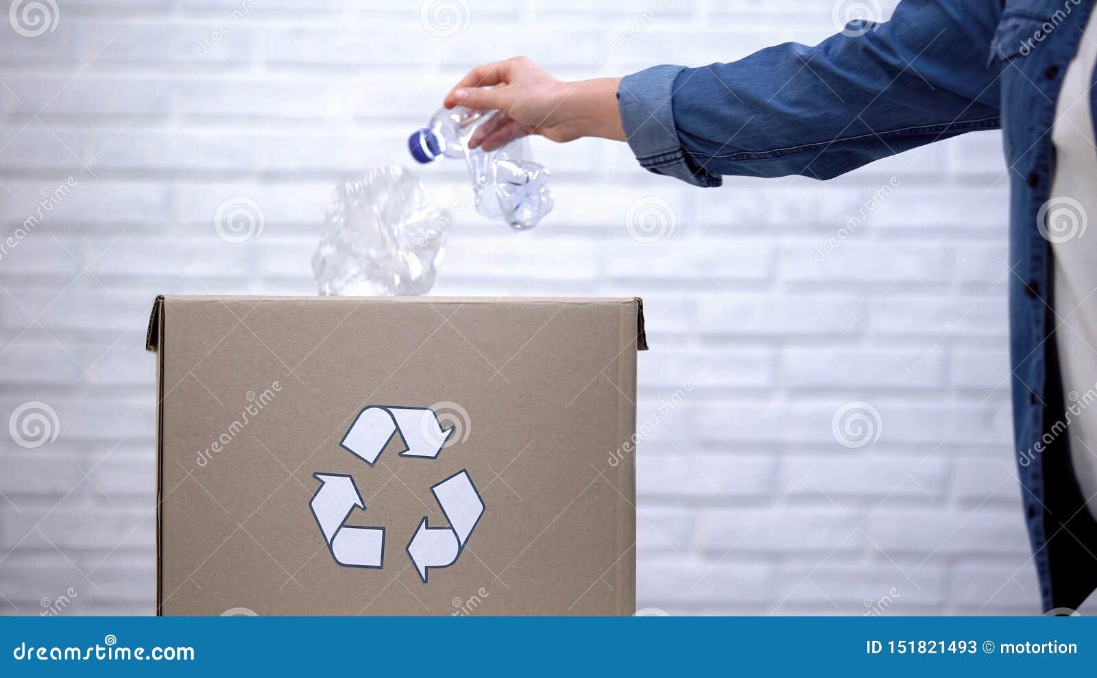 Person, die Plastikflaschen in den Abfalleimer, nicht-abbaubaren Abfall sortierend wirft