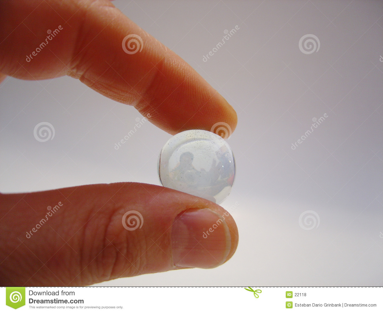 Person with glass bead