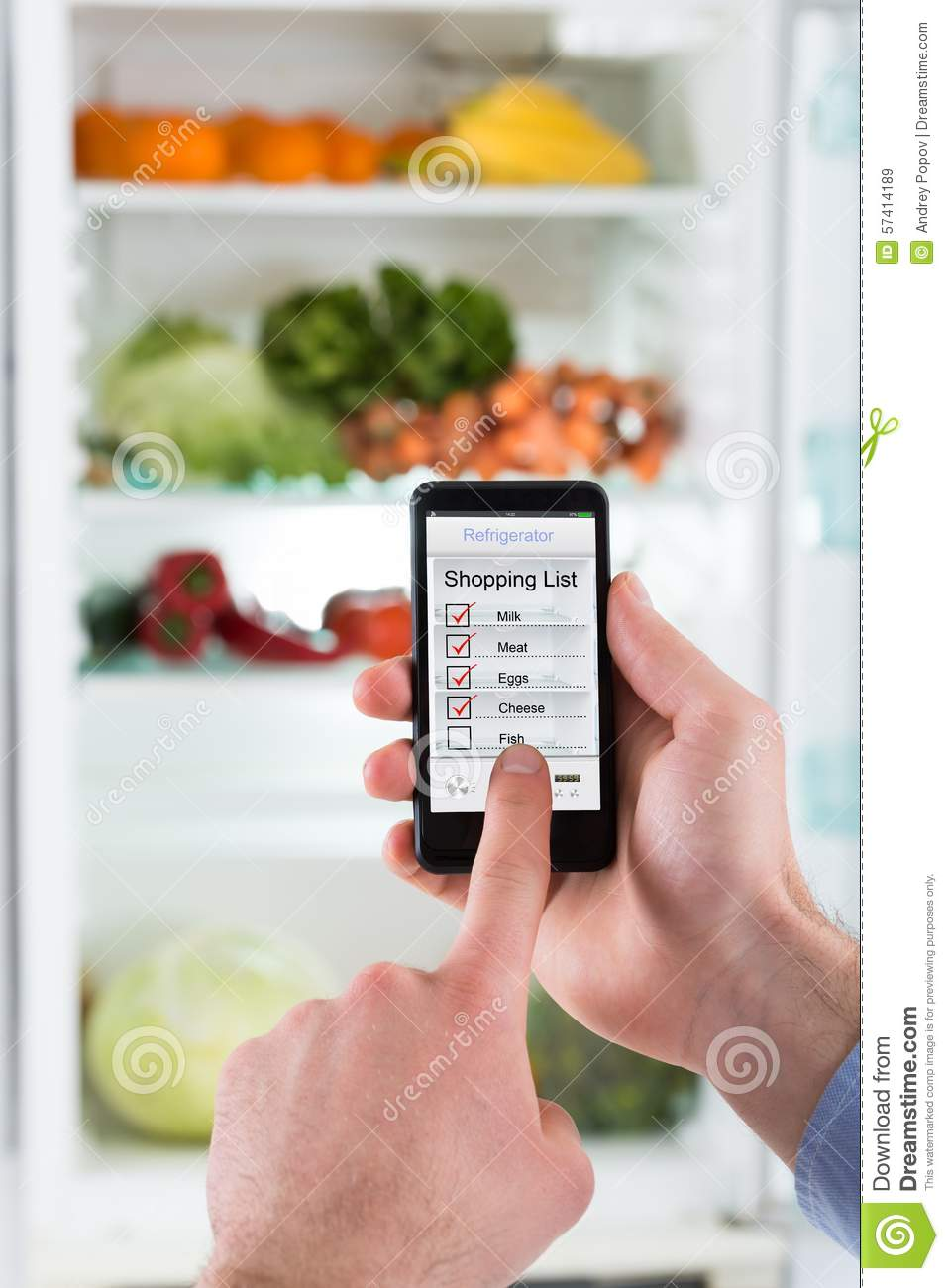 Person Hands Making Shopping List On Mobile Phone Stock Photo ...