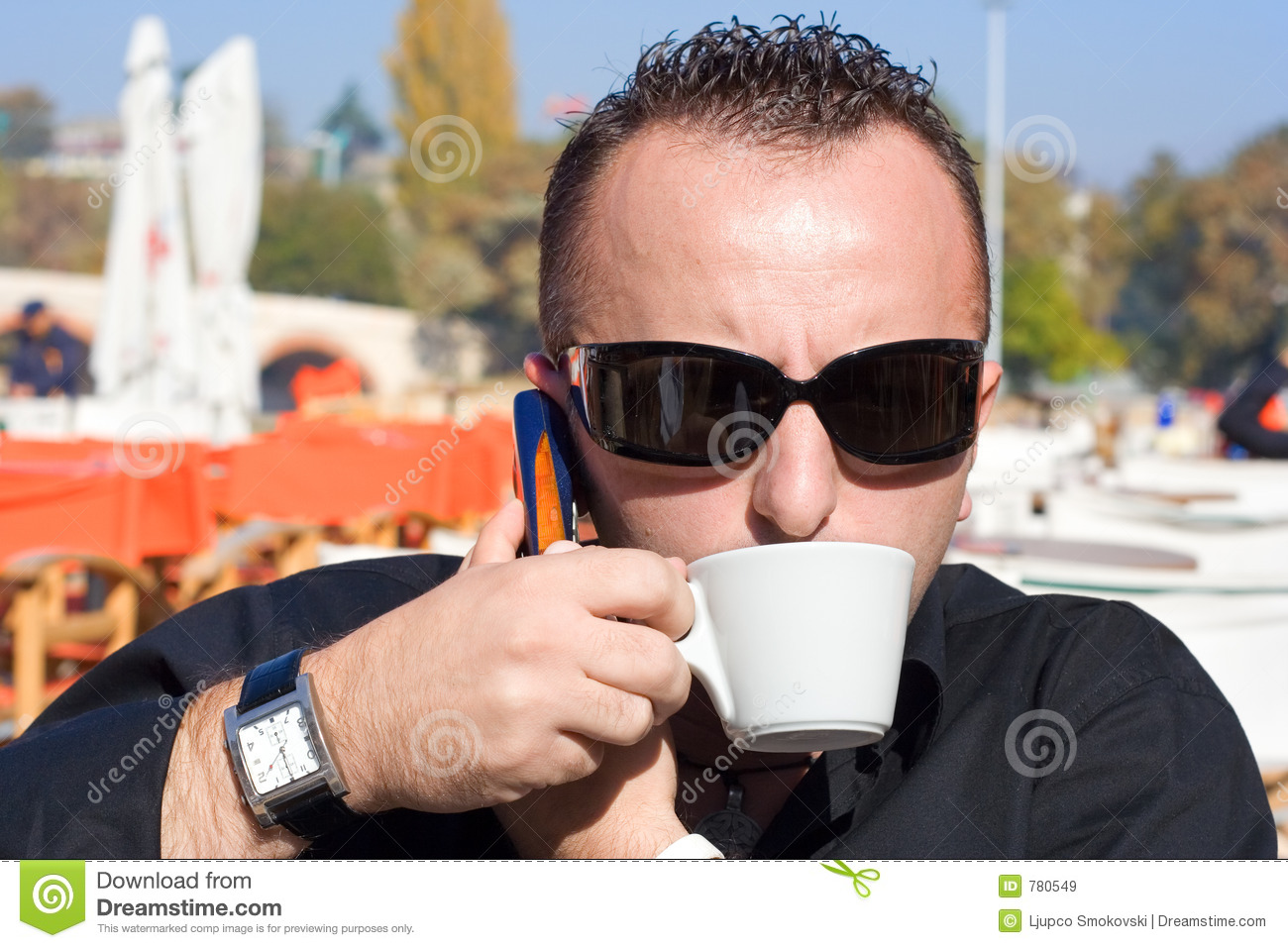 Person having a cup of coffee