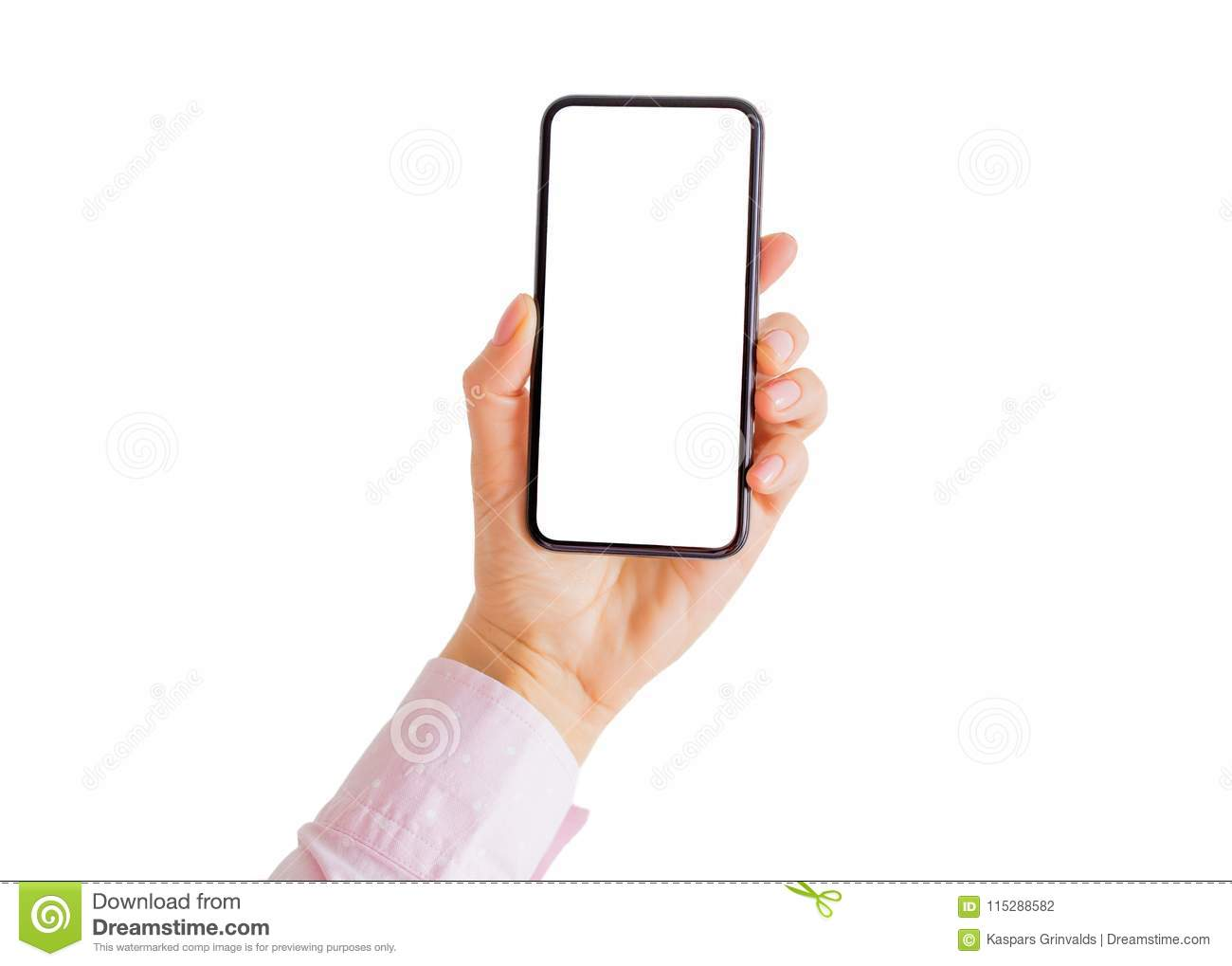 Person holding phone in hand with empty white screen.
