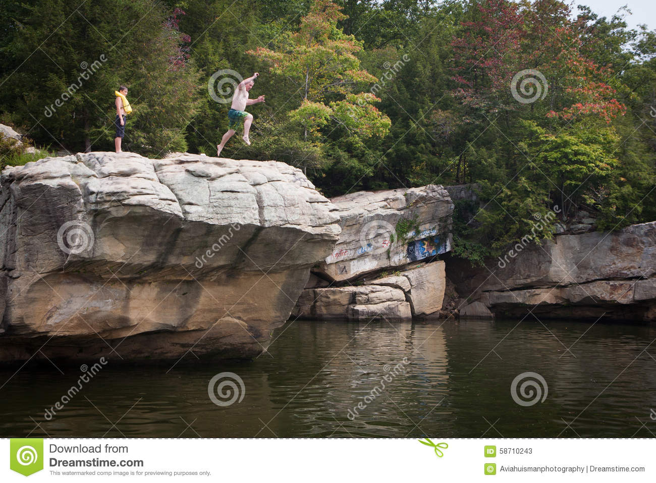 Person Jumping from Cliff into Lake