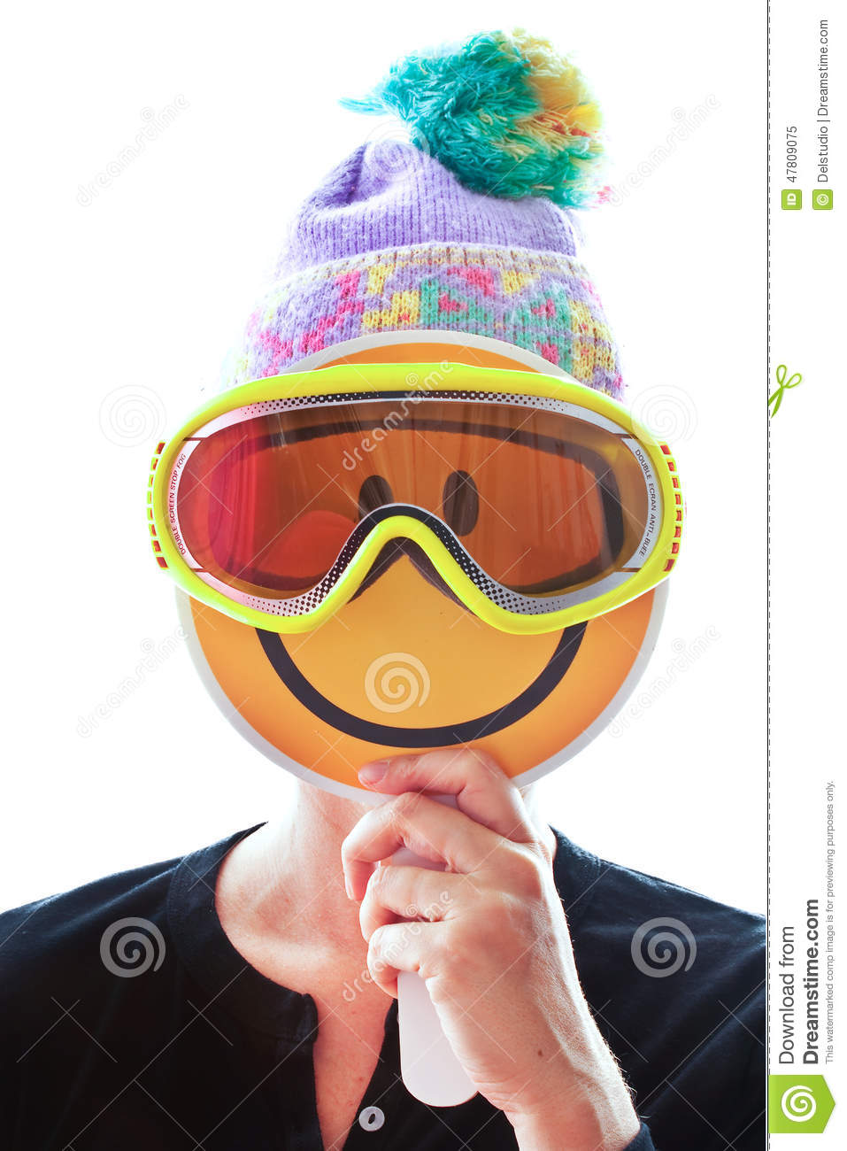 Person With Knitted Hat And Ski Mask Hiding Her Face ...