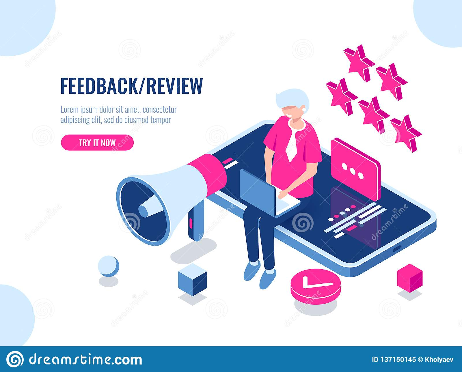 A person leaves a review of the company using a mobile application on a smartphone, concept feedback, five stars, good