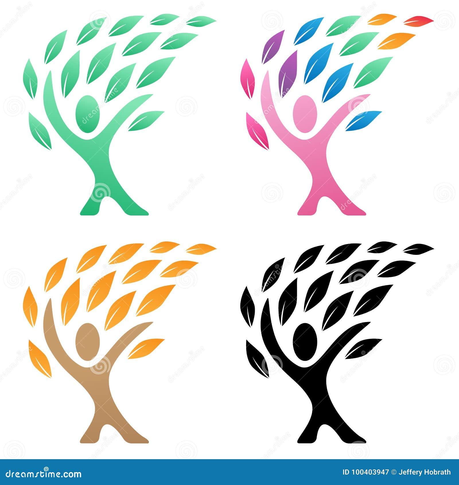 Person life tree logo vector illustration group stock for Illustration minimaliste
