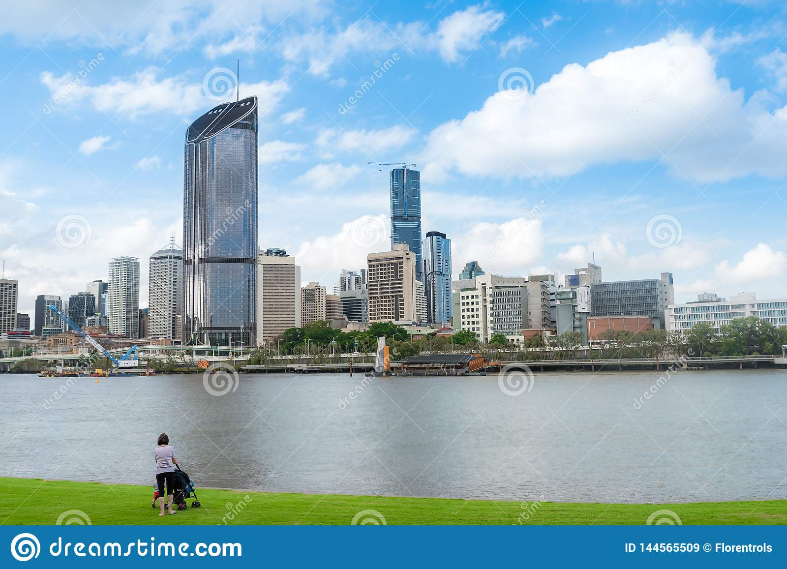 Person looking at the Brisbane city skyline