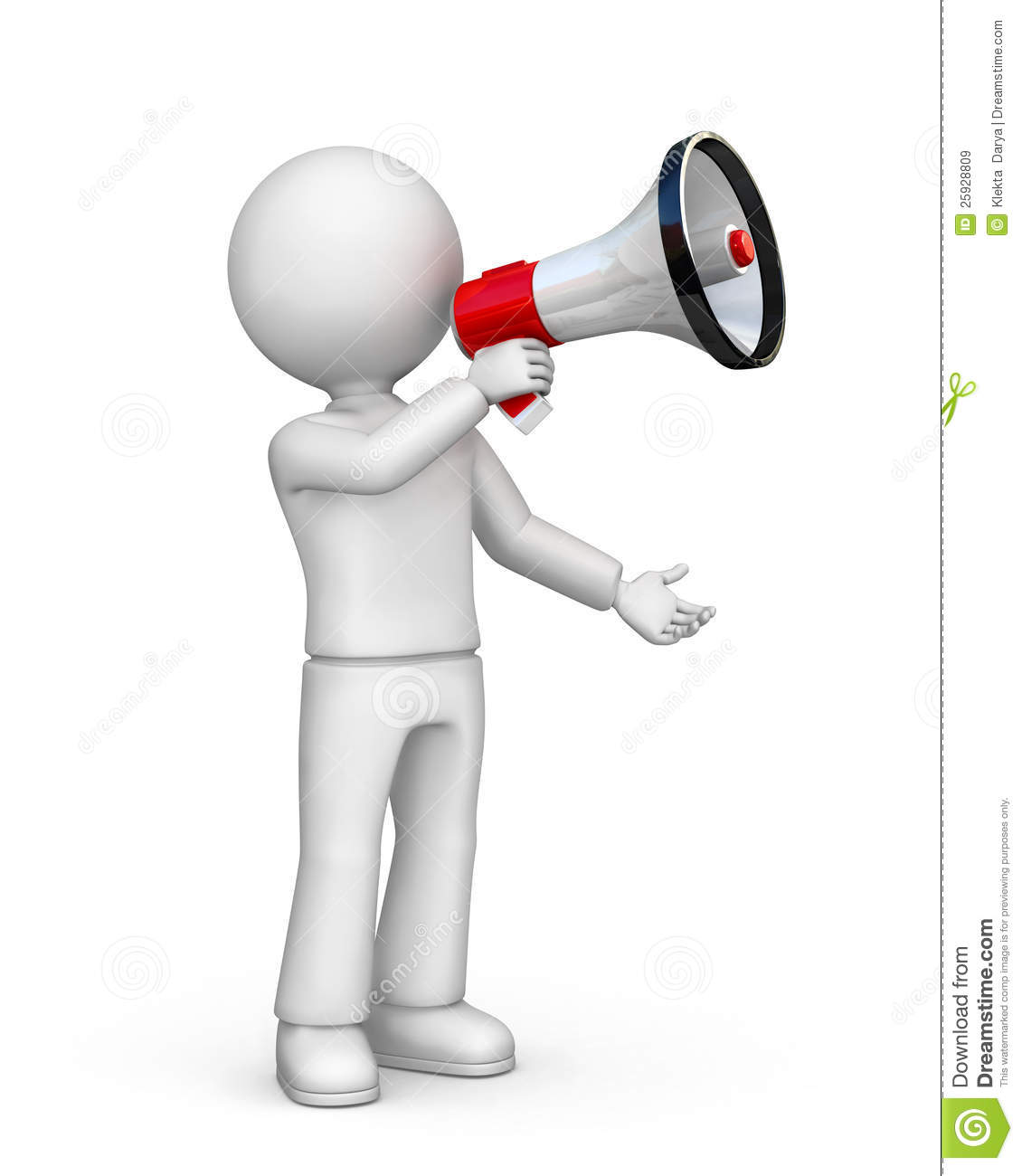 ... of cartoon person with blank face holding megaphone, white background