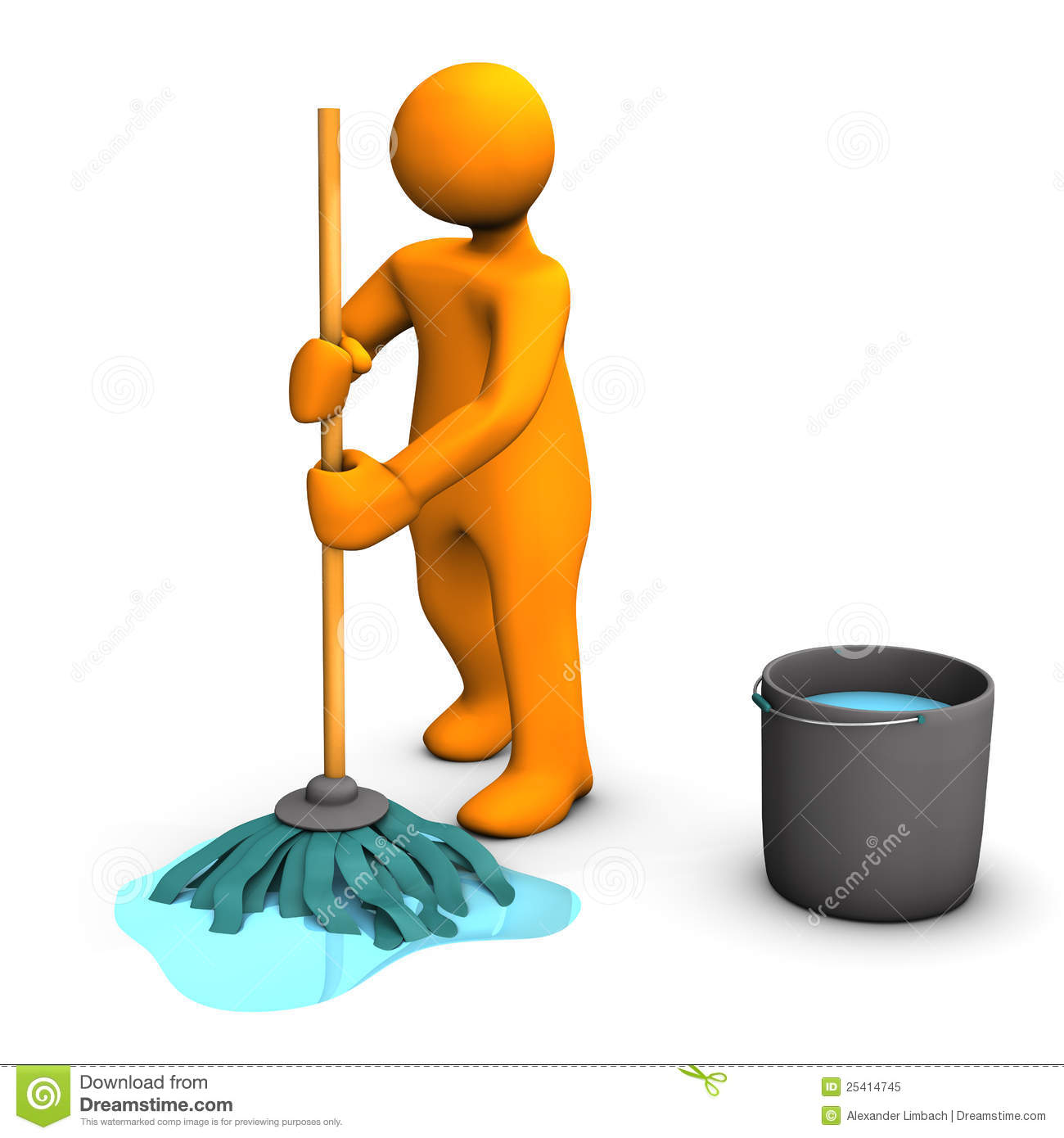 mopping floor person cleaning illustration 3d bucket royalty blank character face background preview dreamstime