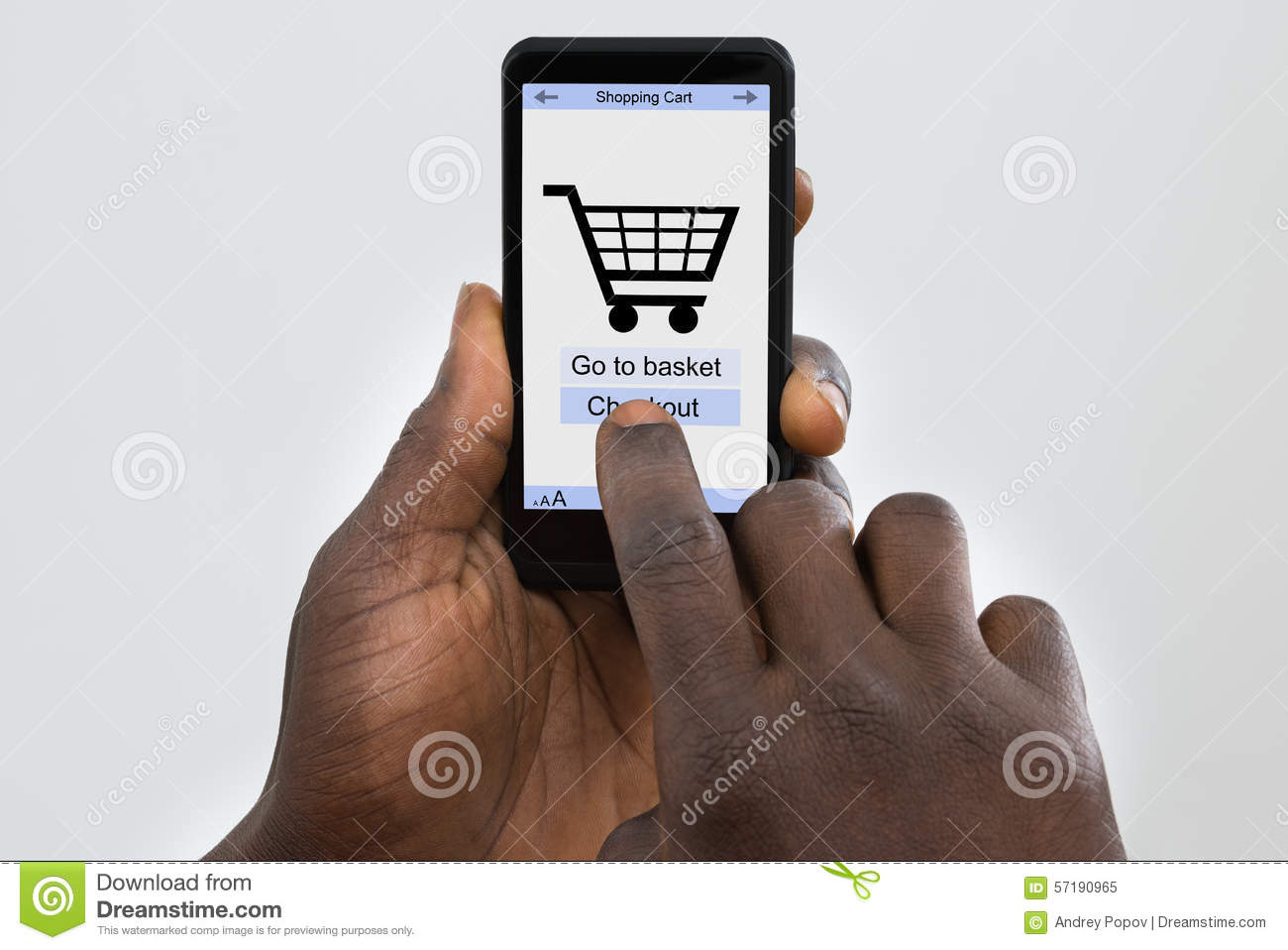 Person Online Shopping On Cellphone