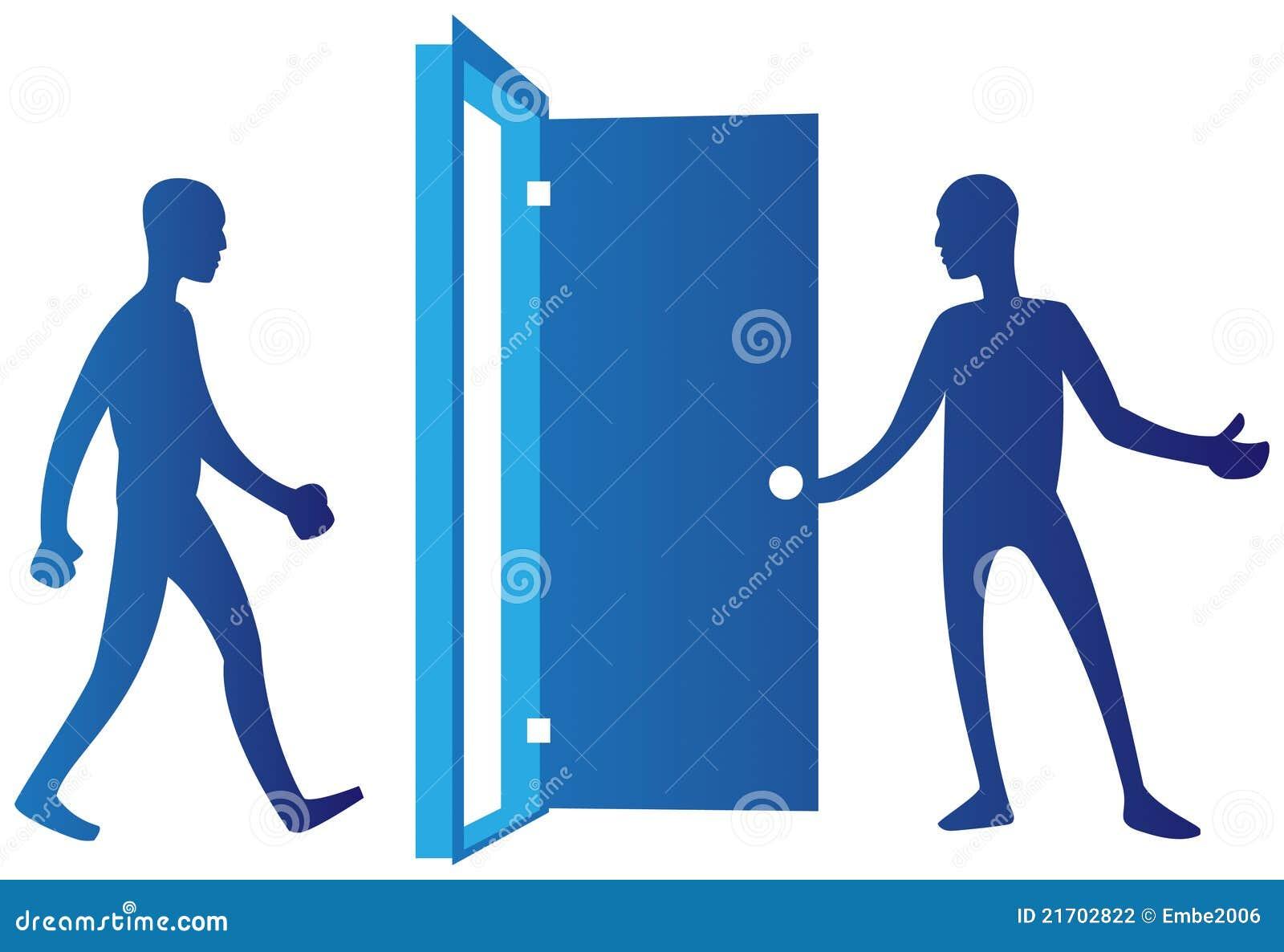 Open Door Clipart Person Opening Door Stock