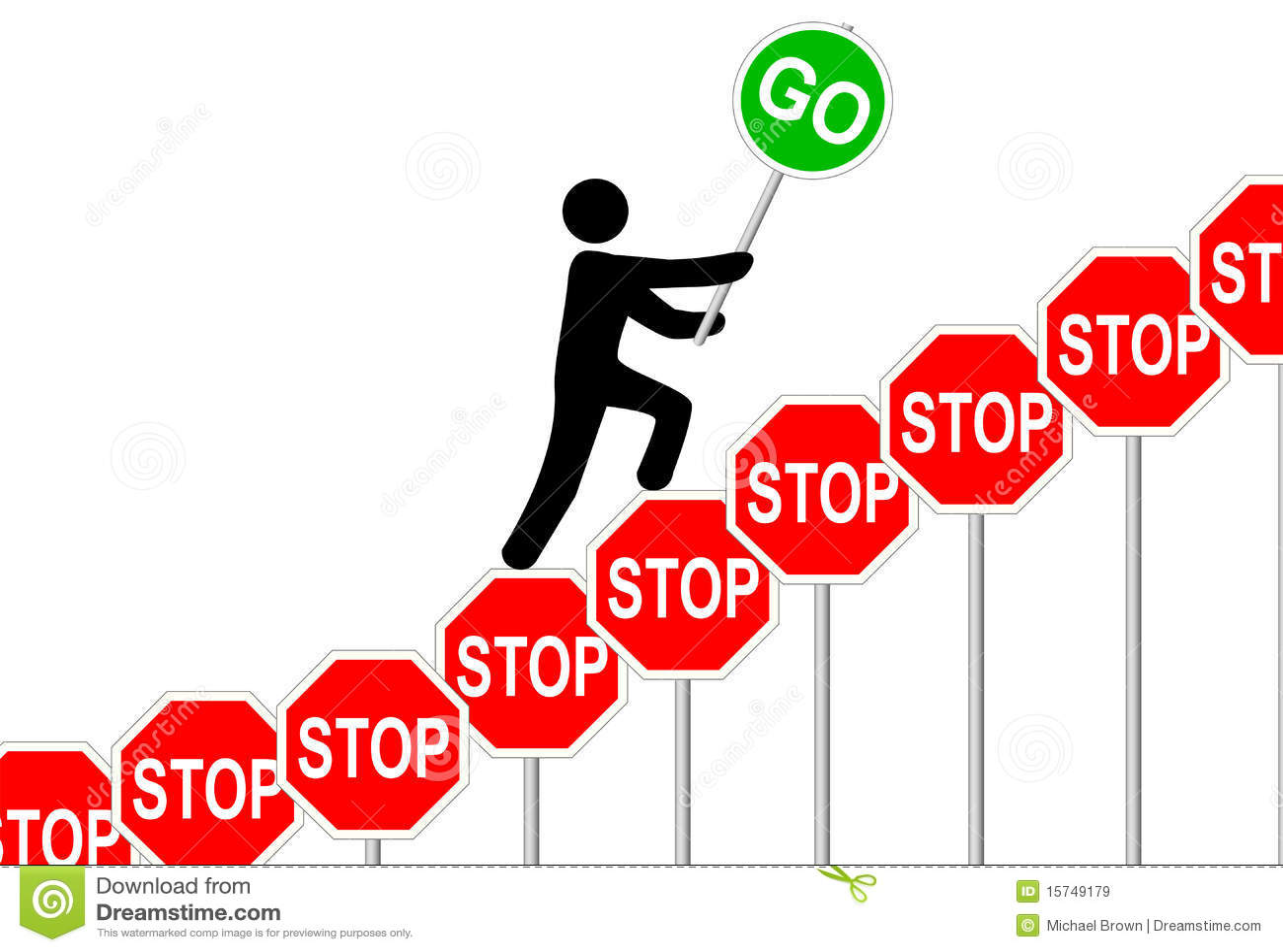 person overcomes stop signs raises go sign stock vector illustration of symbol successful. Black Bedroom Furniture Sets. Home Design Ideas