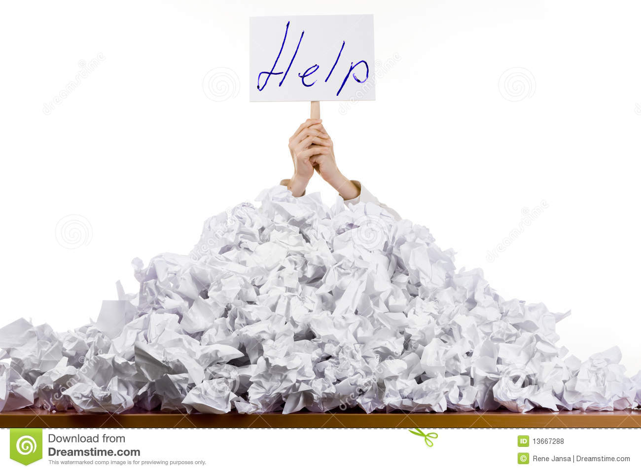 Person in pile of papers