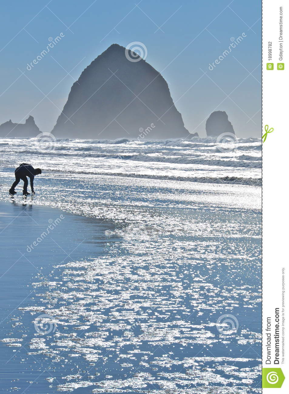 Person playing on Cannon beach