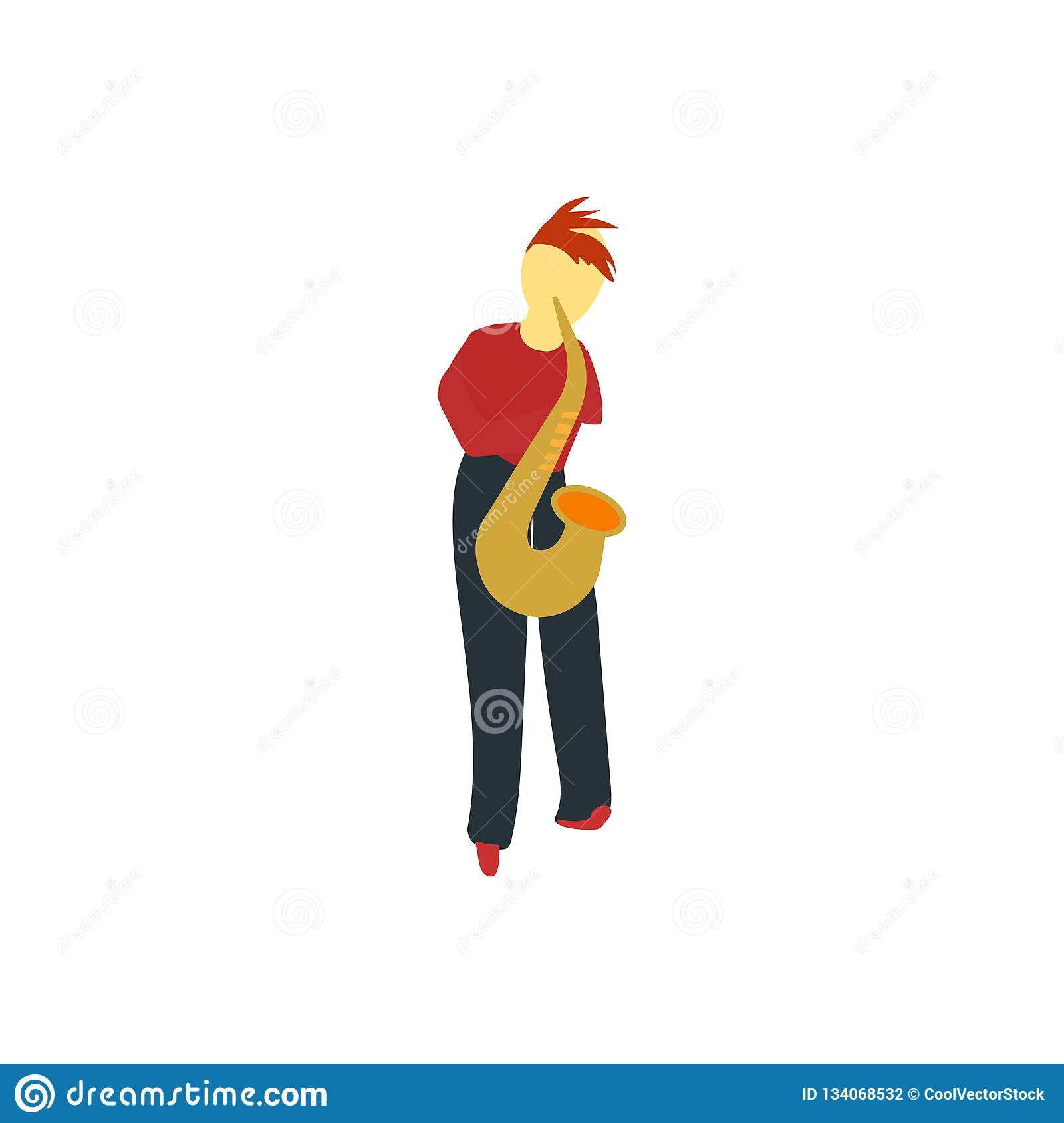 Person playing saxophone vector vector sign and symbol isolated on white background, Person playing saxophone vector logo concept
