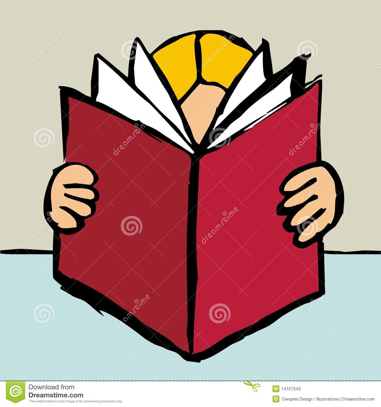 ... of one blonde person reading a big red book. Vector file available