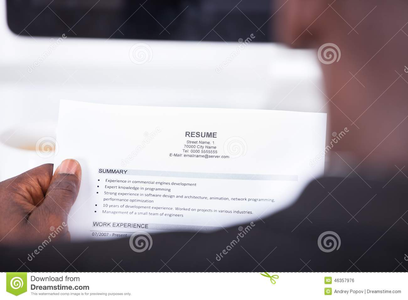 person reading resume stock photo  image of office