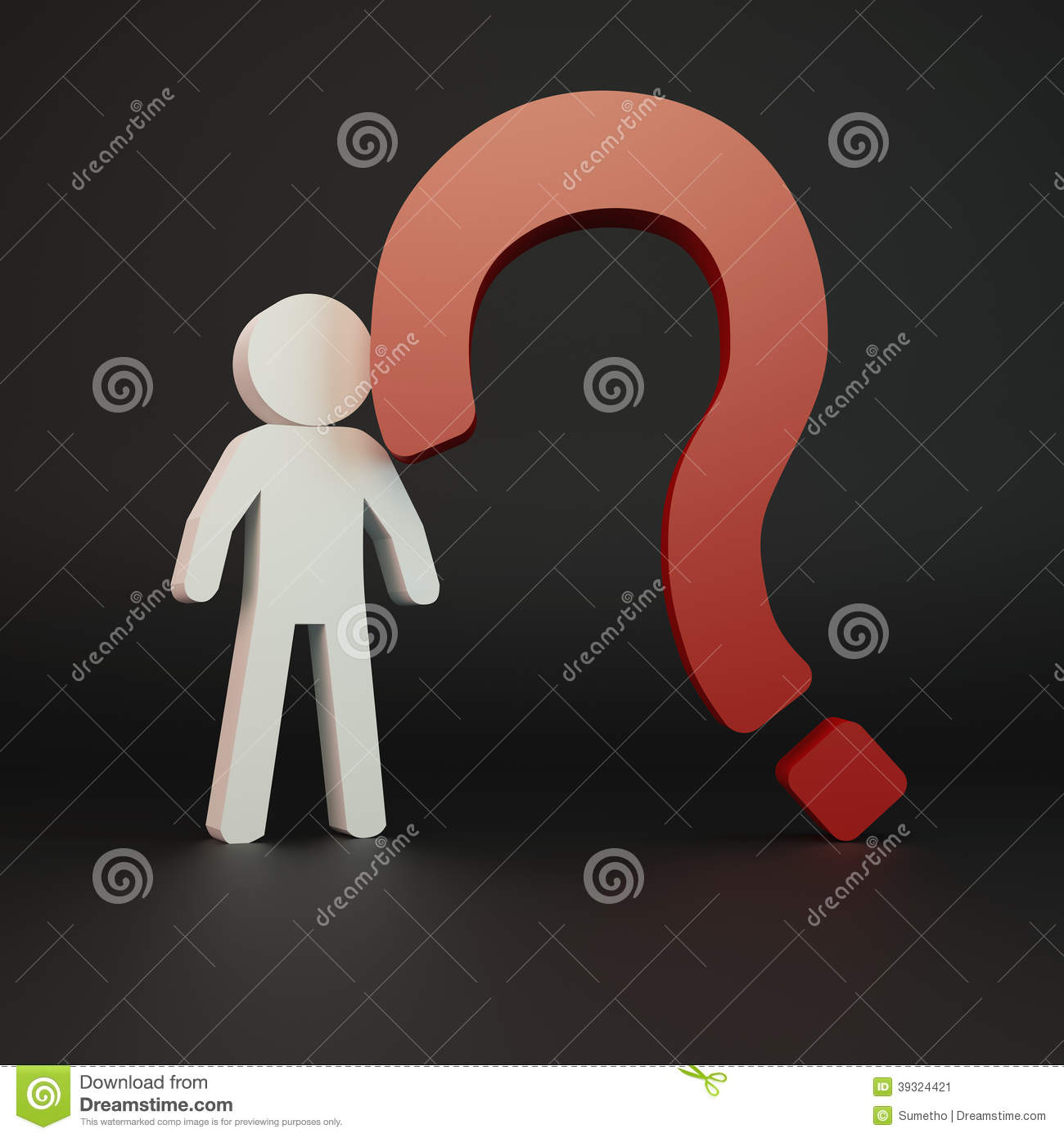Person With Red Question Mark Stock Illustration - Image ...