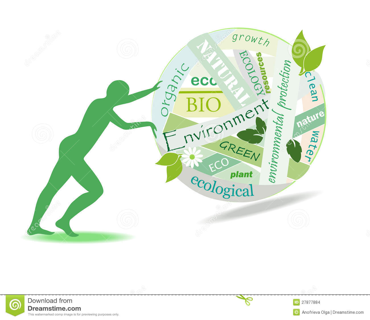 Person rolls a ball of environmental problems, Illustration on a white ...