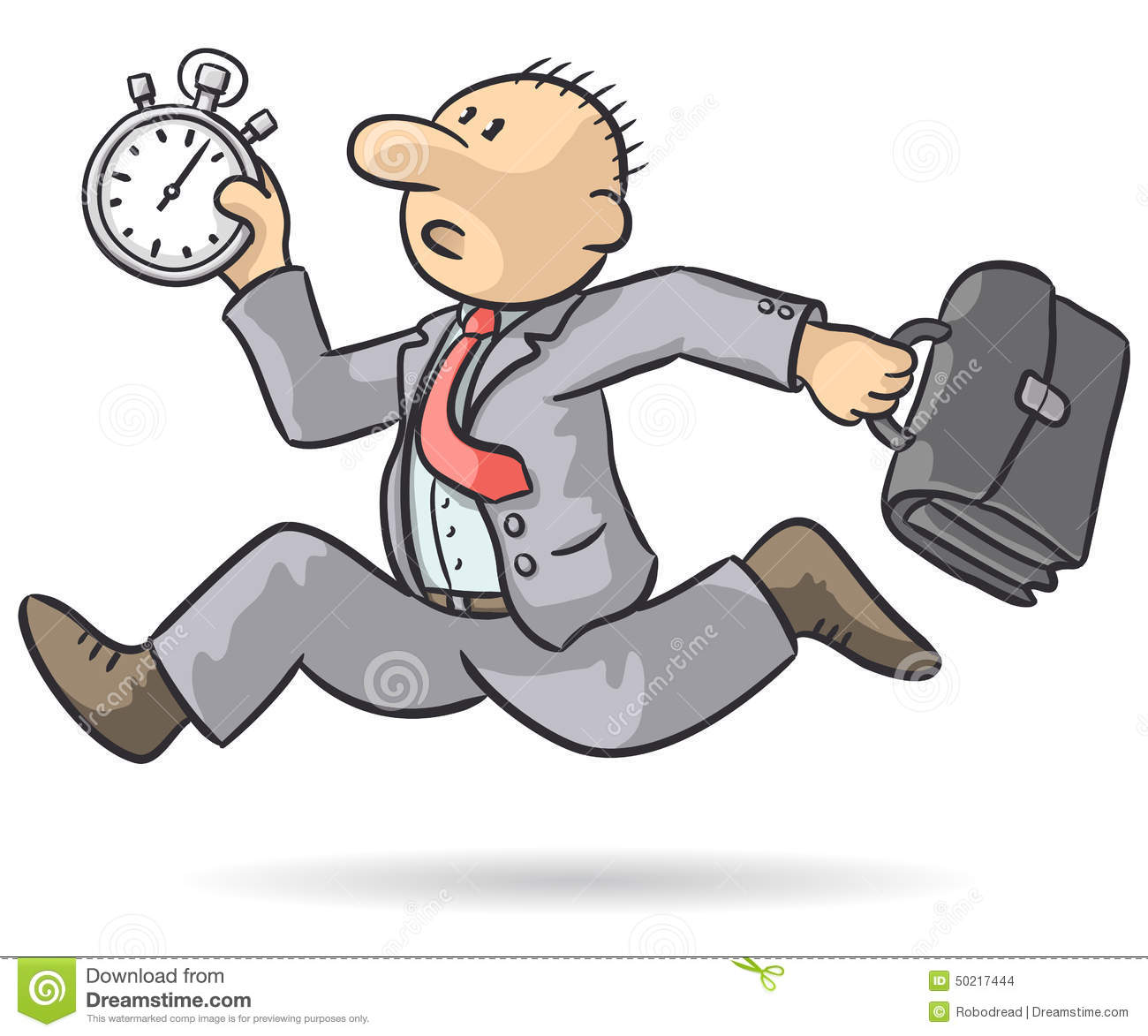 person runs with stopwatch stock vector illustration of office