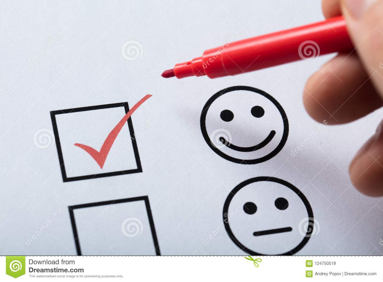 Tick Placed In Customer Service Satisfaction Survey Form