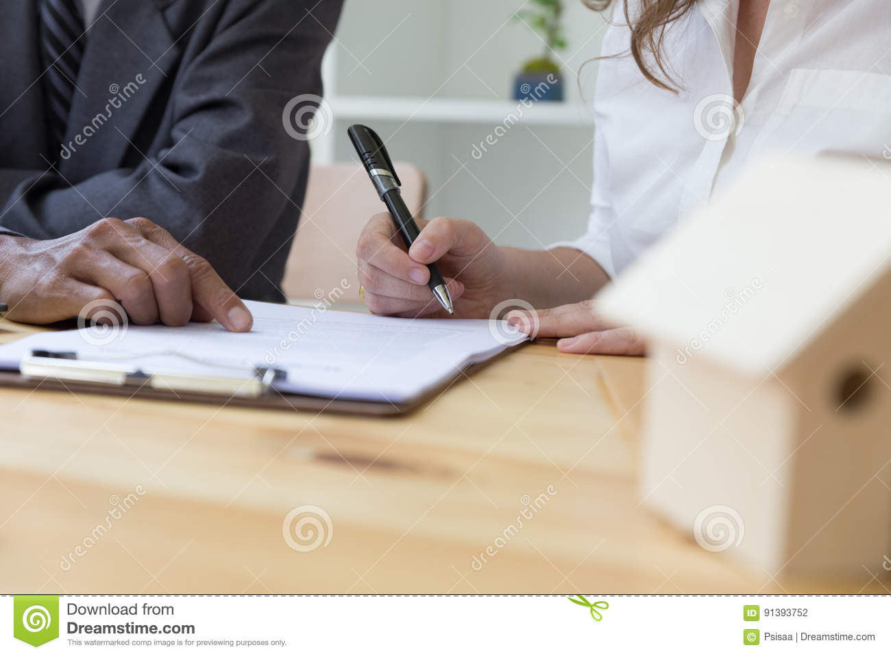 Person X27s Hand Hold Ballpoint Pen Writing On Contract Agreement
