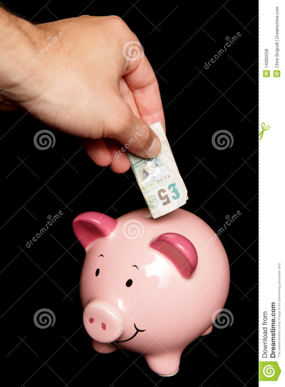 Five pound note piggy bank royalty free stock for How to make a piggy bank you can t open