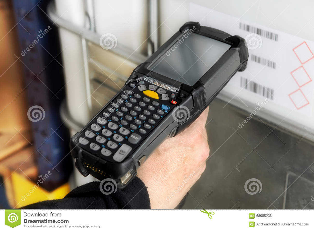 Person Scanning A Barcode With A Scanner Stock Photo - Image: 68085236