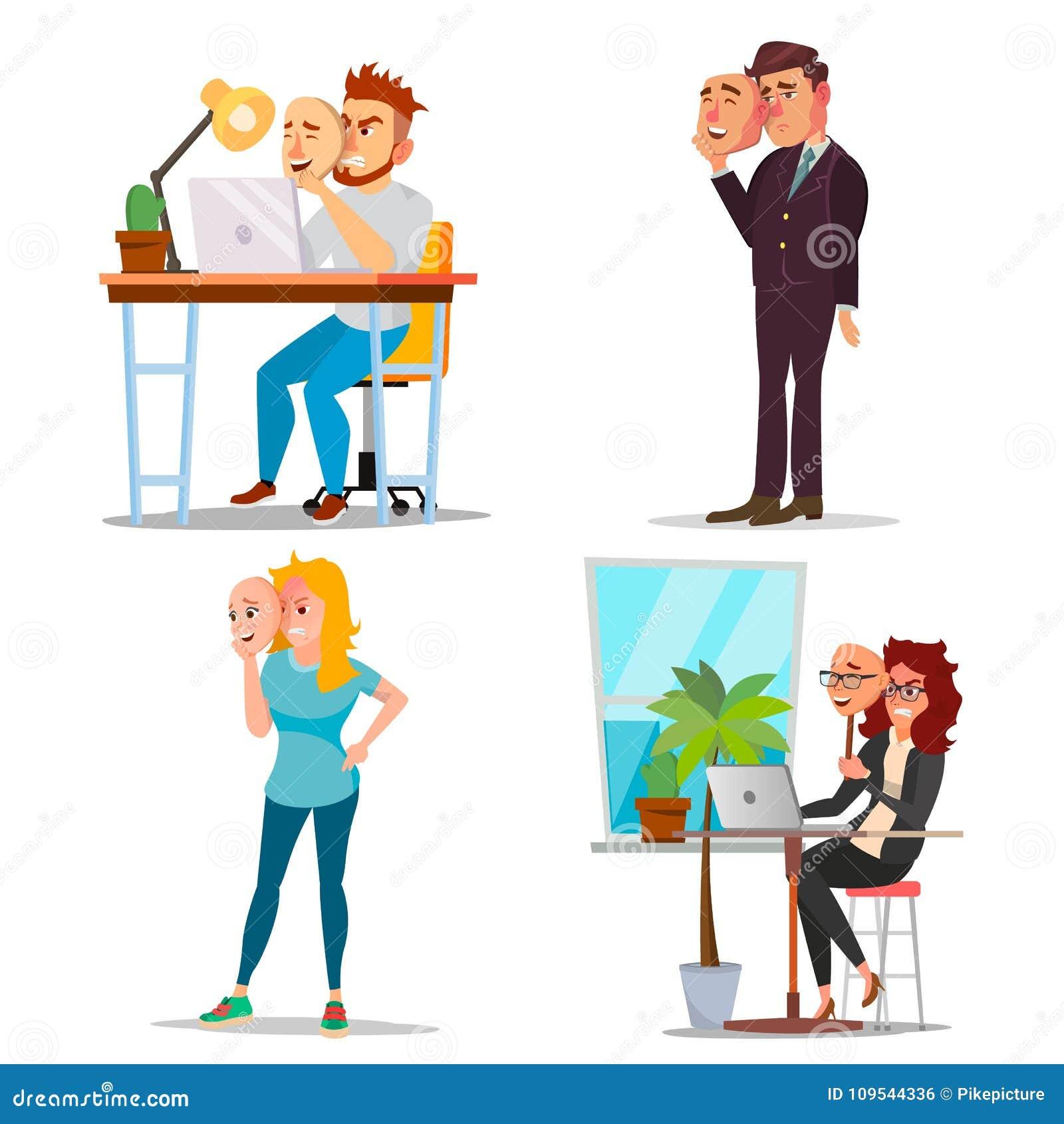 Person Set Vector falso Hombre malo, cansado, mujer Engañe el concepto Hombres de negocios del desgaste de la máscara de la sonri