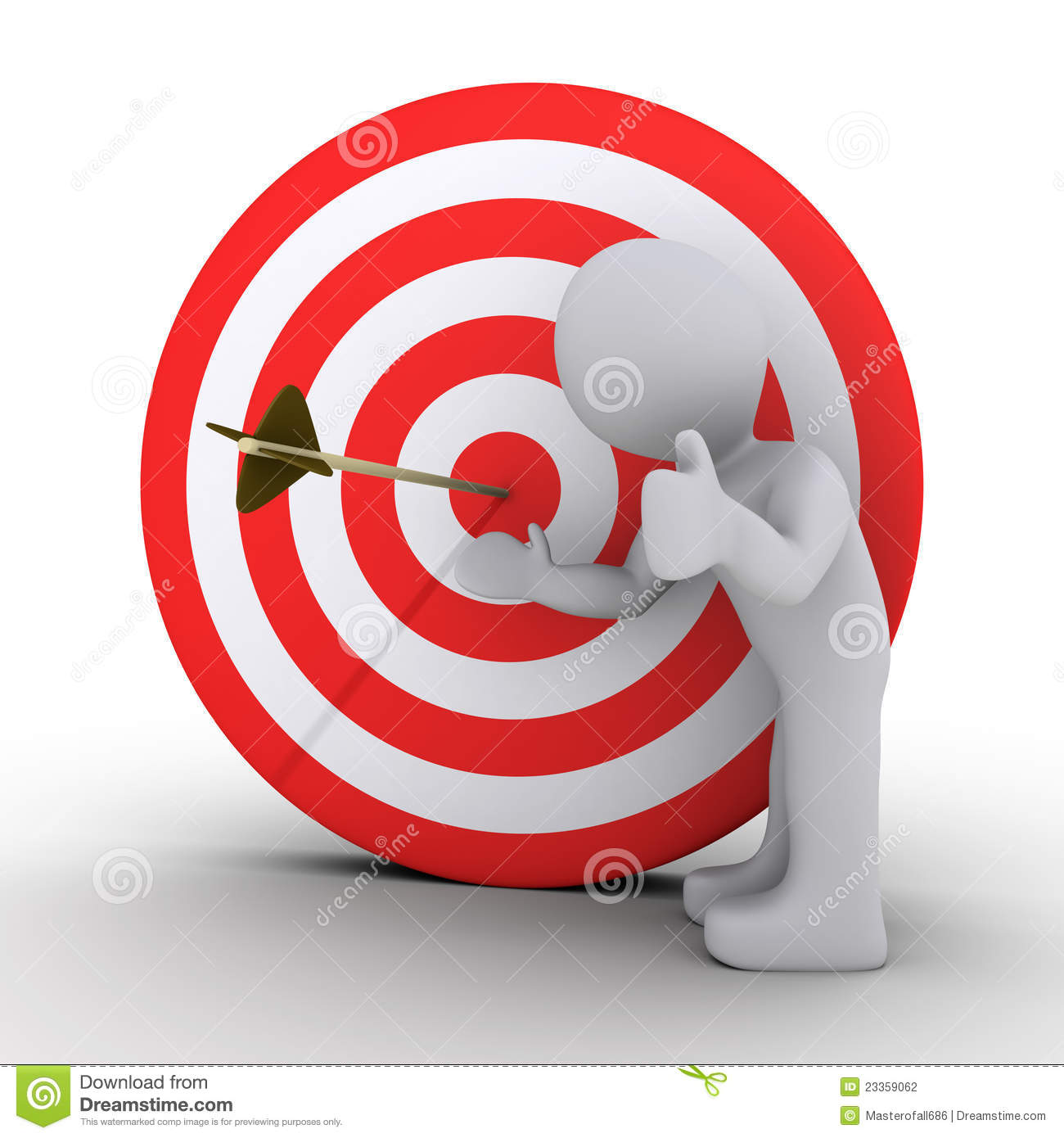 3d person satisfied is showing an arrow in the center of a red and ...