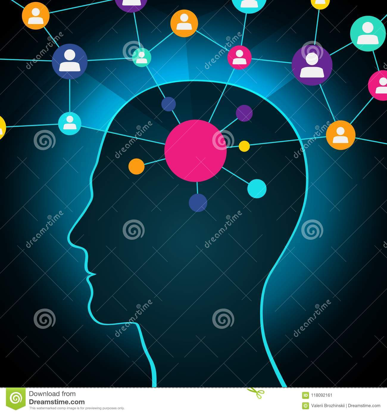 Person in a social network, communication, contacts, business. global network in the head. Flat design, icons