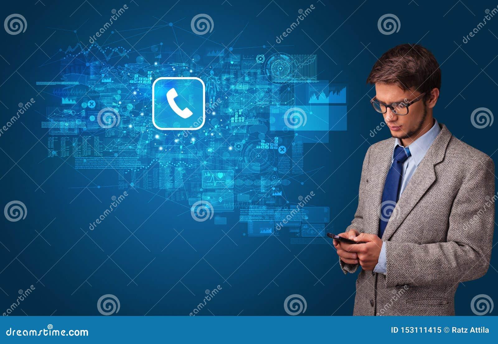 Person som anv?nder telefonen med postbegrepp