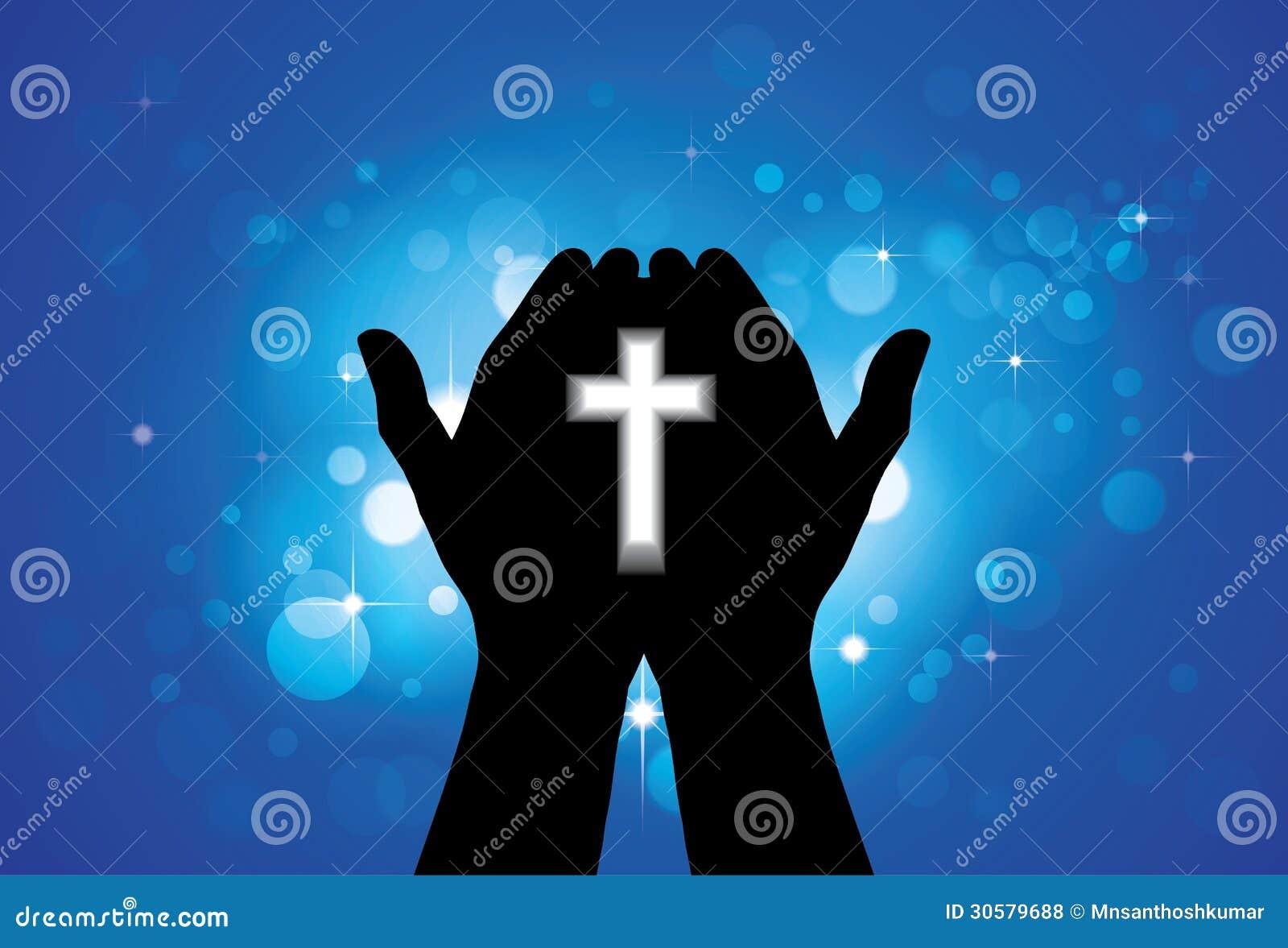Person som ber eller tillber med helgedomkorset i hand