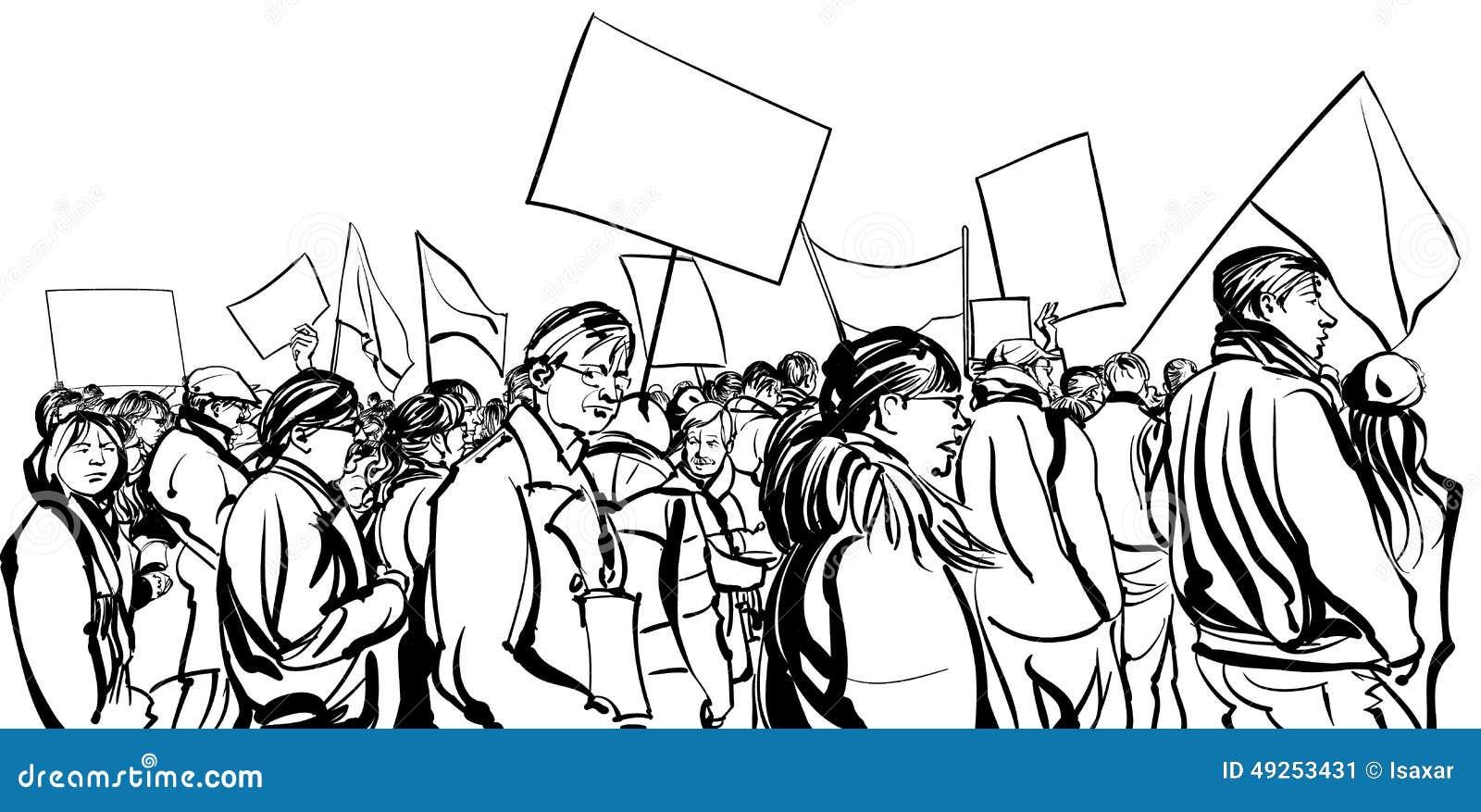Person som protesterarfolkmassa som går i en demonstration