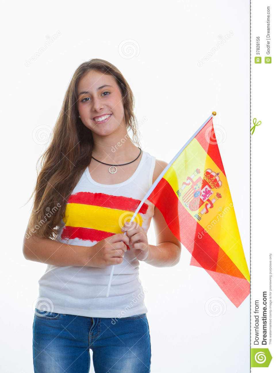 Person With Spanish Flag Royalty Free Stock Image Image