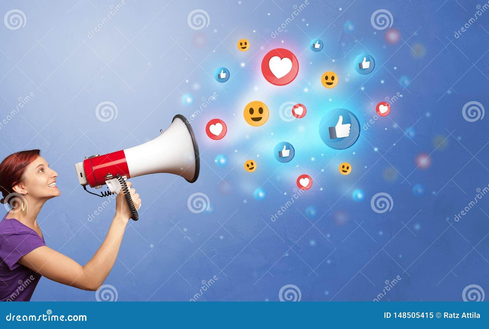 Person speaking in loudspeaker with social media concept