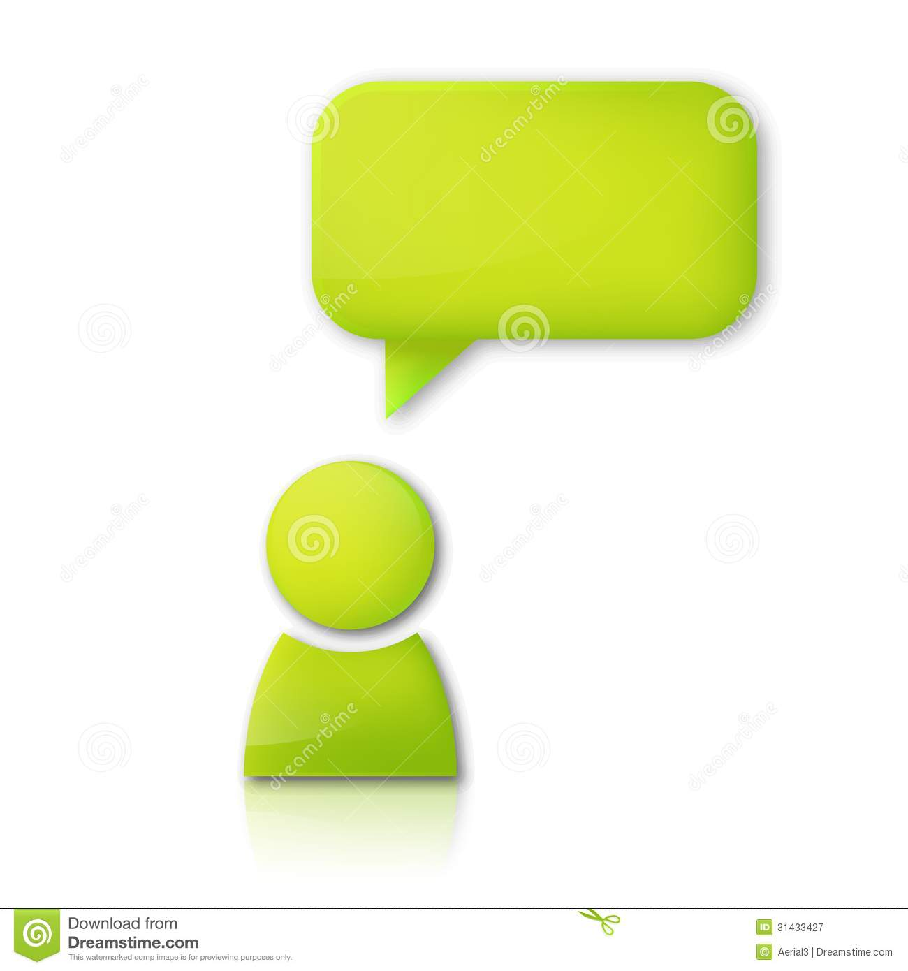 ... Free Stock Photography: Person with speech bubble. Green vector icon