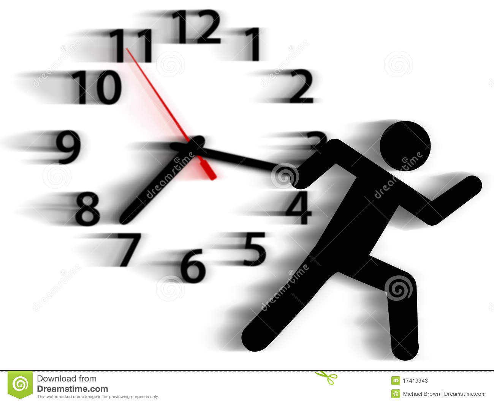 Person Symbol Run Time Race Against Clock Stock Photos