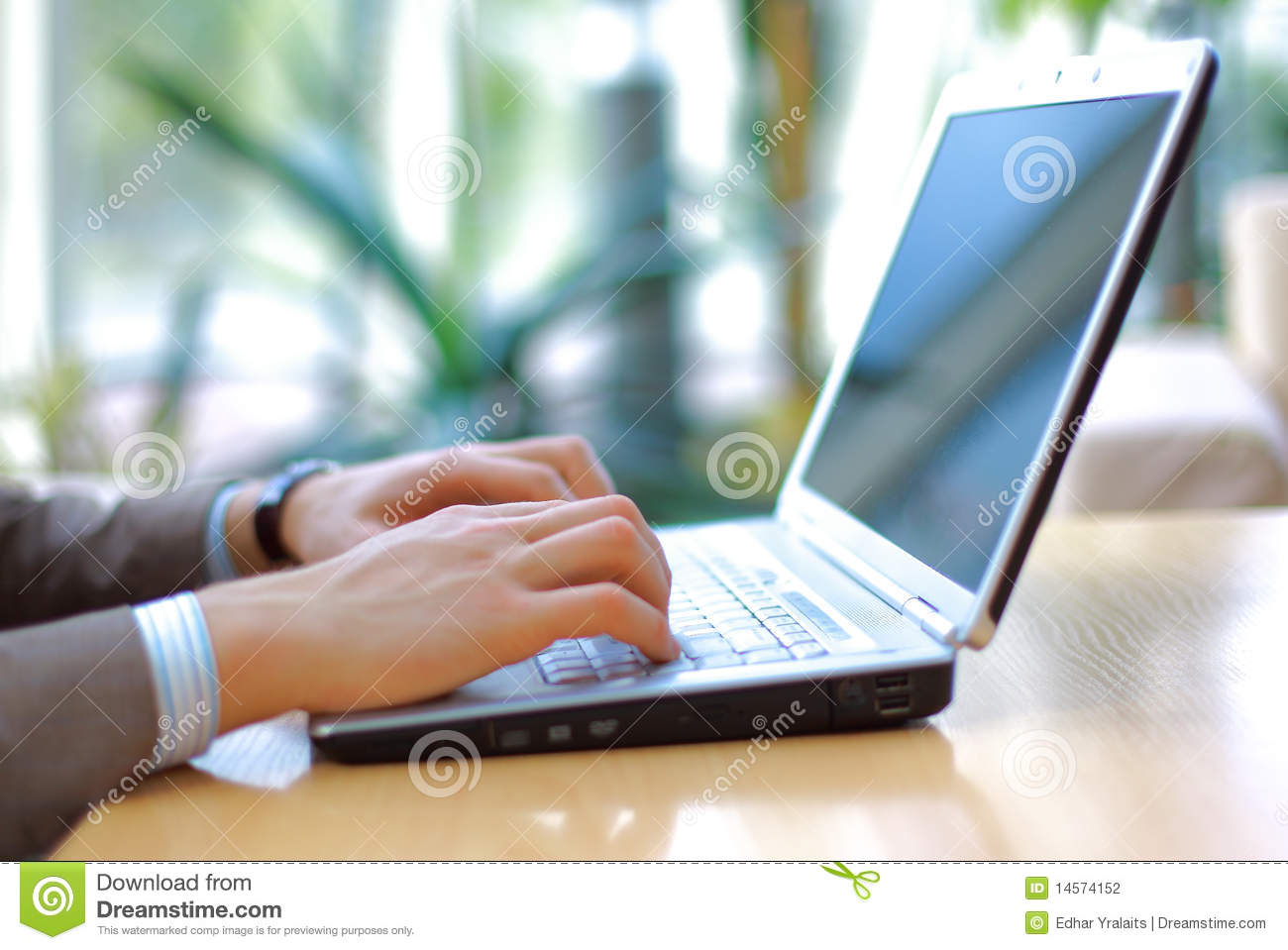 Person Typing On A Modern Laptop Stock Photo Image 14574152