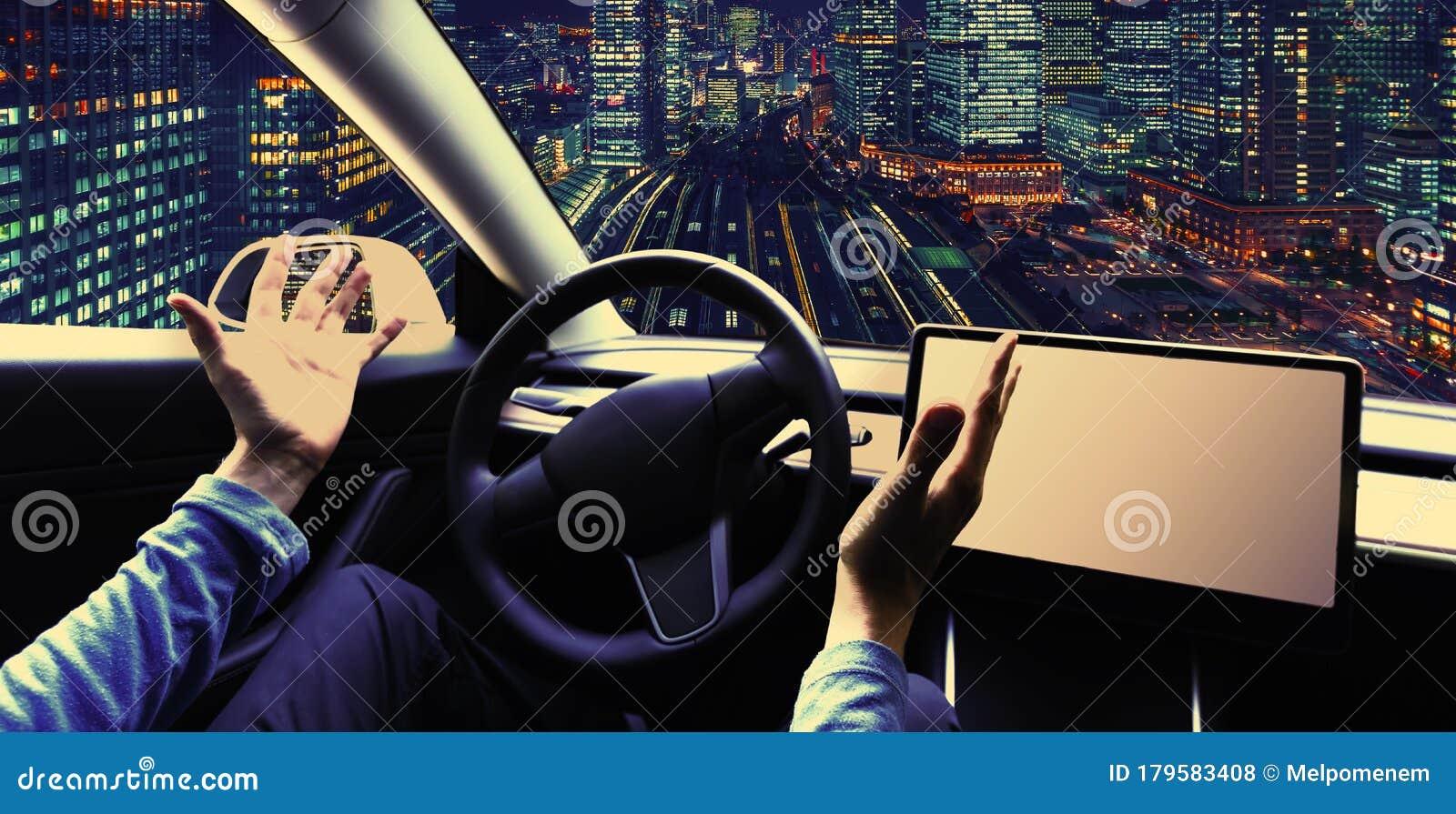 Person Using A Car In Autopilot Mode Stock Photo Image Of Future Artificial 179583408