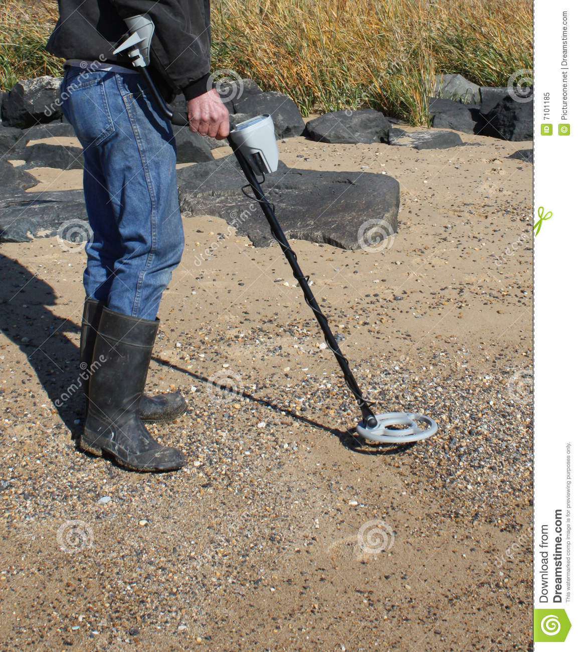 Jew Detector: Person Using Metal Detector Royalty Free Stock Photo