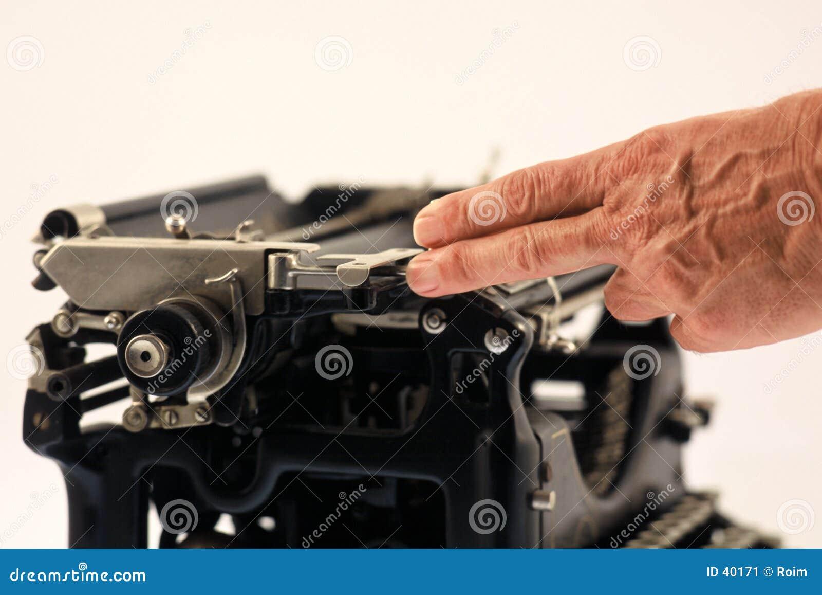 Person using retro typewriter