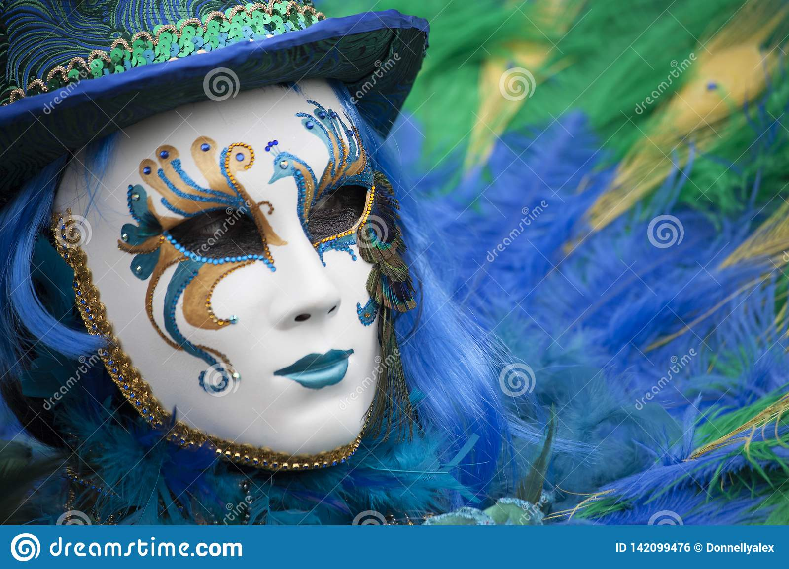 Person at Venice Carnival dressed in a blue, yellow & green venetian costume and venetian mask with a feather Venice Italy