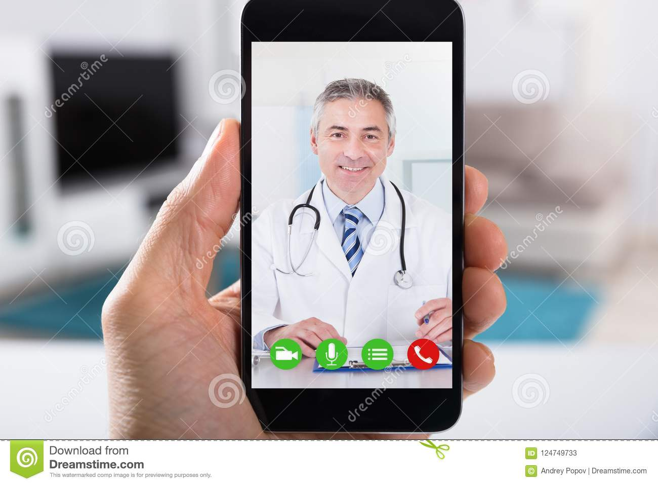 Person Video Conferencing With Doctor en Smartphone