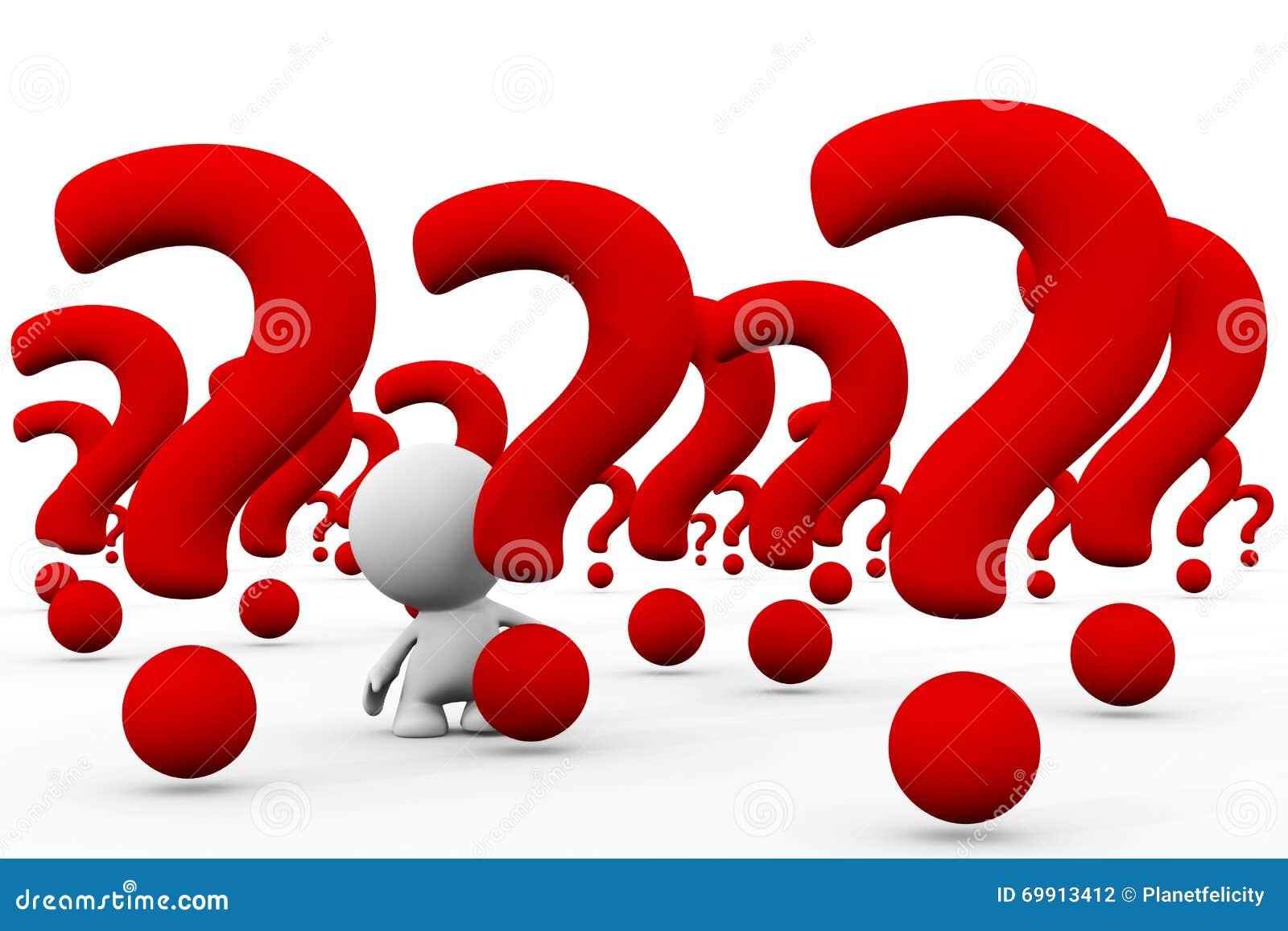 Persona bianca 3d in una matrice enorme dei punti interrogativi giganti