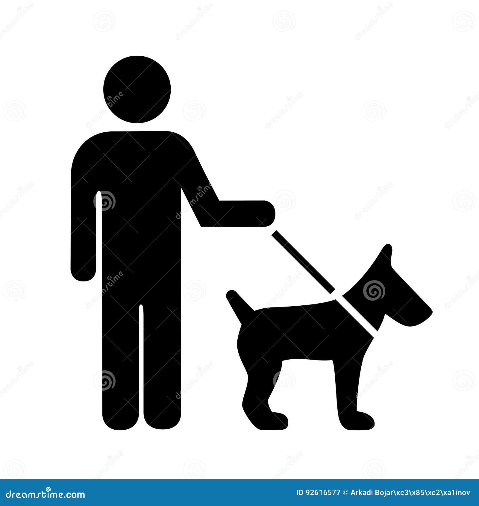 Persona con el icono del vector del perro