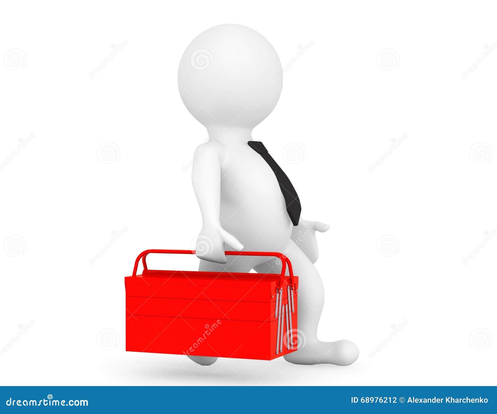 Persona 3d con la caja de herramientas roja