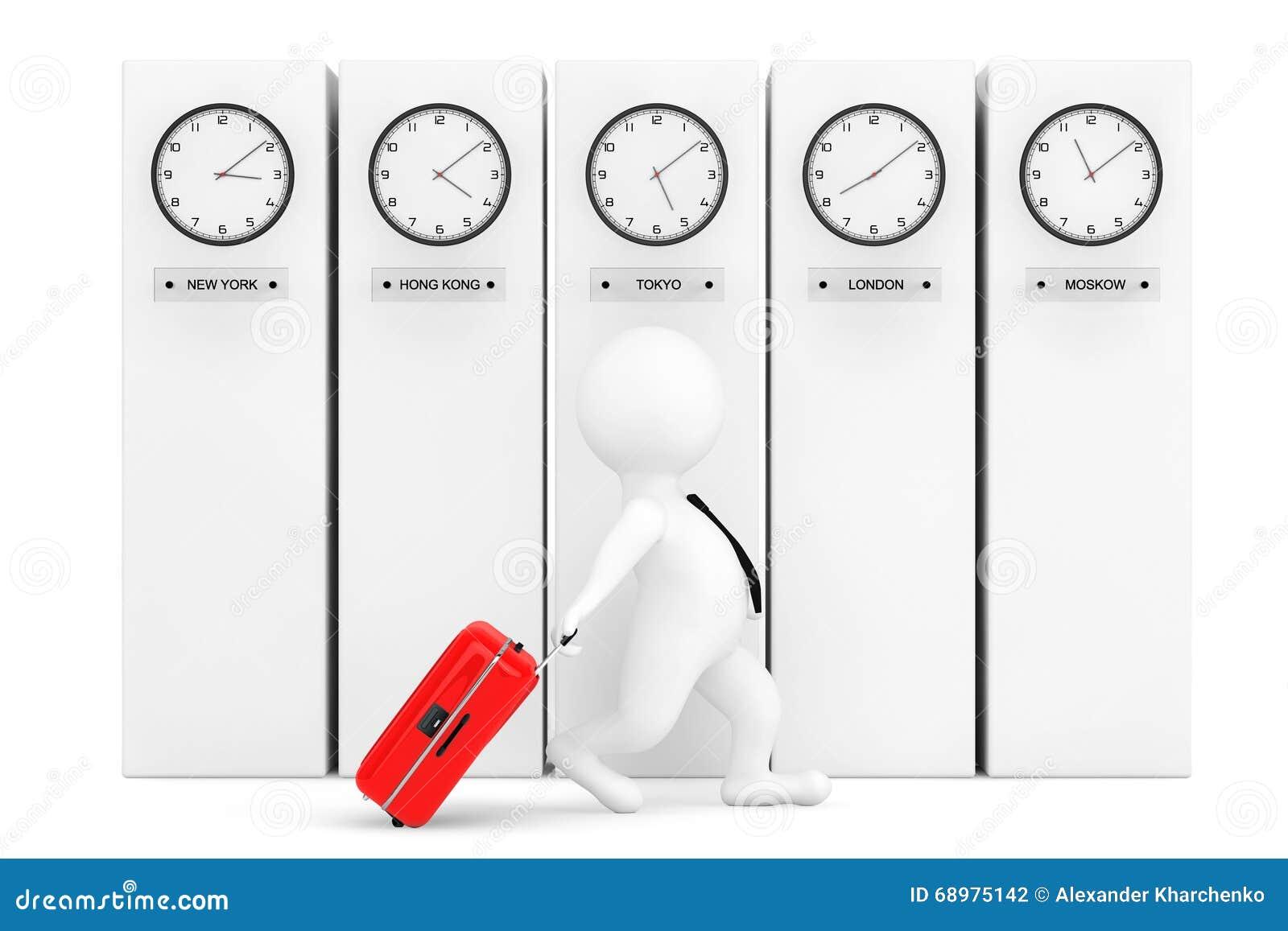 Persona 3d con la maleta delante de columnas con el reloj de la zona horaria