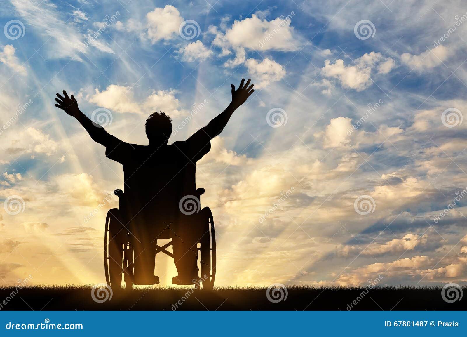 Persona discapacitada feliz de la silueta