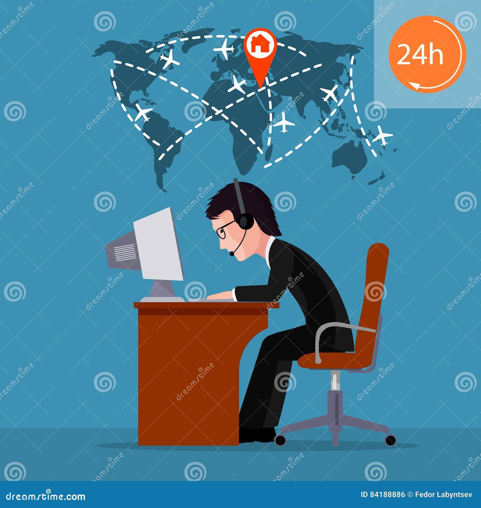 Persona en el ordenador Empleado del centro de atención telefónica Postal al día de encargado de la aviación