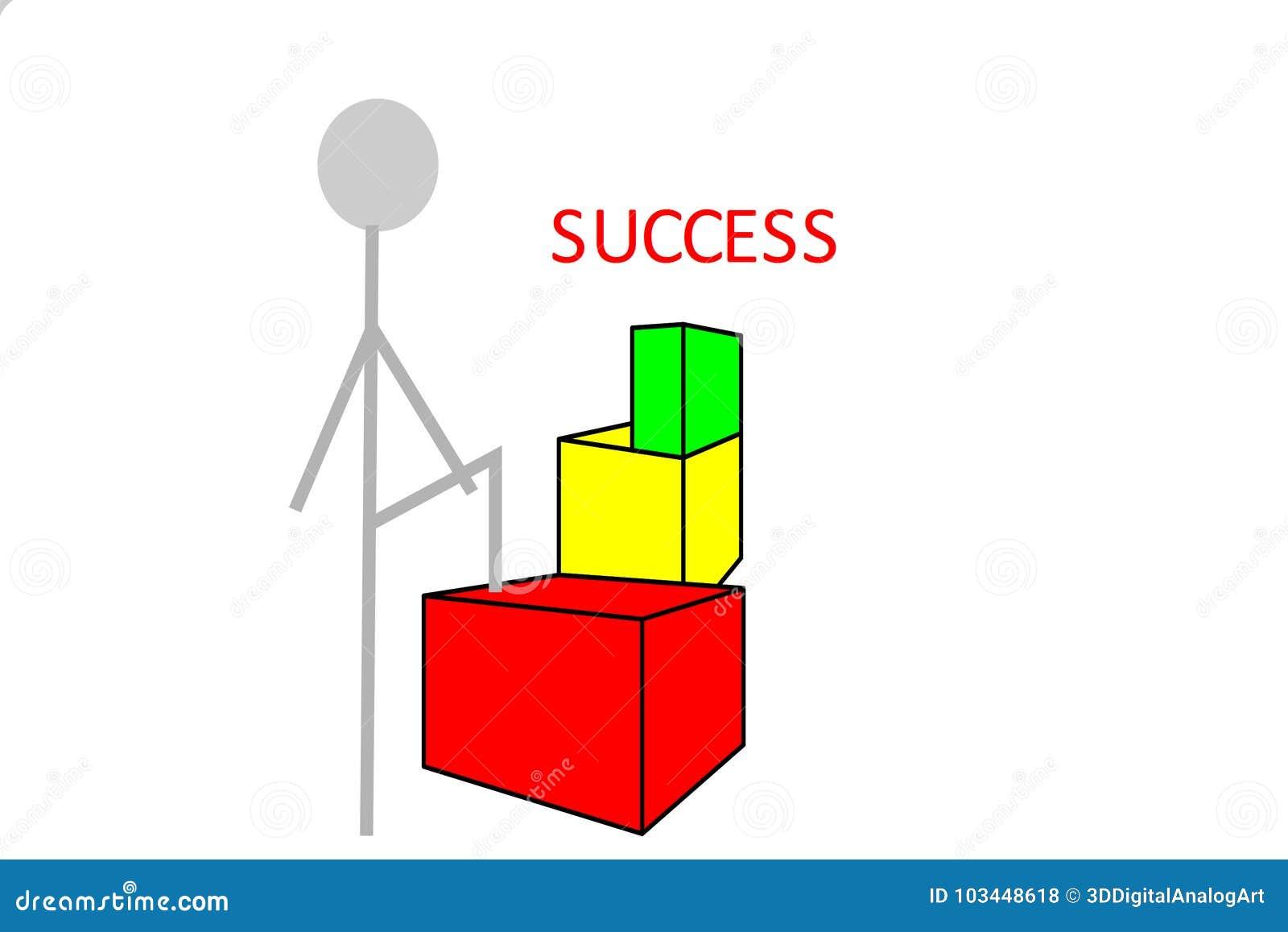 Persona en la manera al éxito